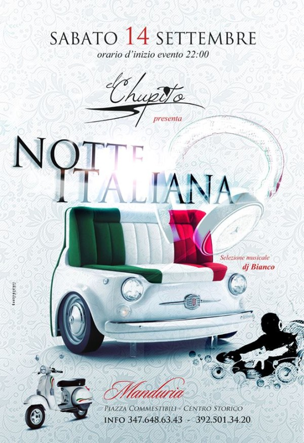 Locandina Serata Italiana Chupito